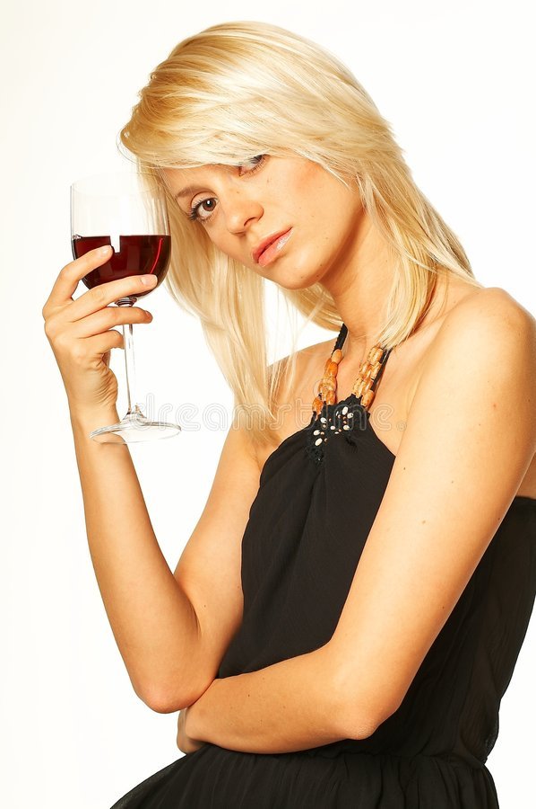 Ragazza bionda con vetro di vino immagini stock libere da diritti