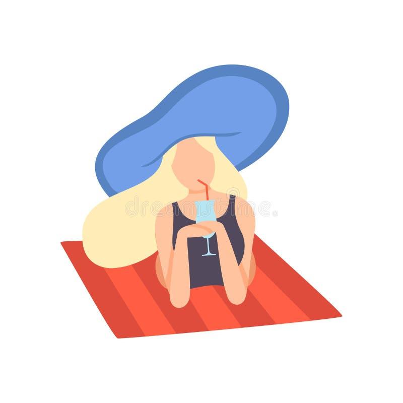 Ragazza bionda in costume da bagno e cappello blu che si trovano sulla spiaggia e sul cocktail bevente, bella giovane donna che g illustrazione vettoriale
