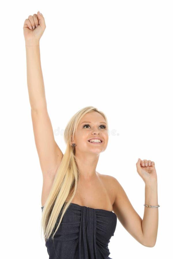 Ragazza bionda incoraggiante splendida fotografia stock libera da diritti