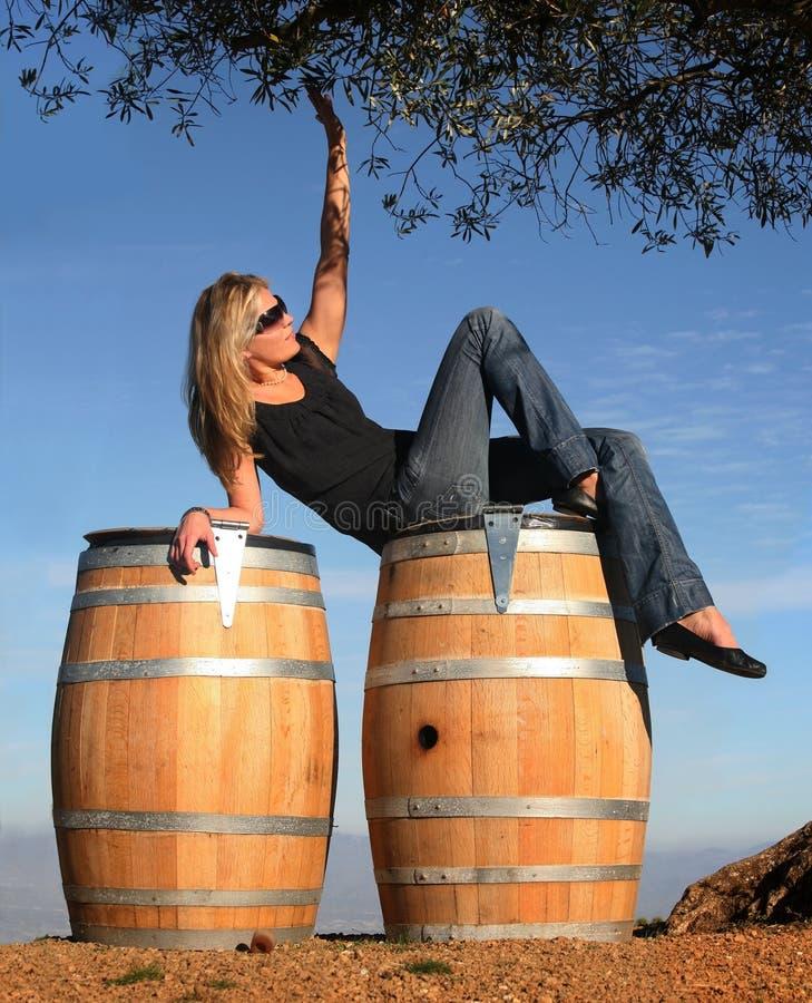 Ragazza bionda in un paese di vino fotografia stock libera da diritti
