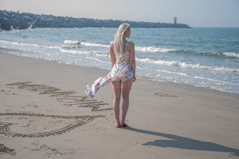 Download Ragazza Bionda In Vestito E Vento Dalla Spiaggia Fotografia Stock - Immagine di biondo, ponticello: 117977402