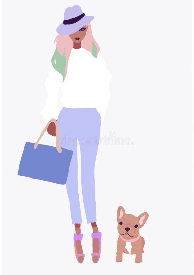 Ragazza biraziale sveglia dell'illustrazione donna asiatica di modo con pelle marrone ragazza d'avanguardia dell'America di afro illustrazione di stock