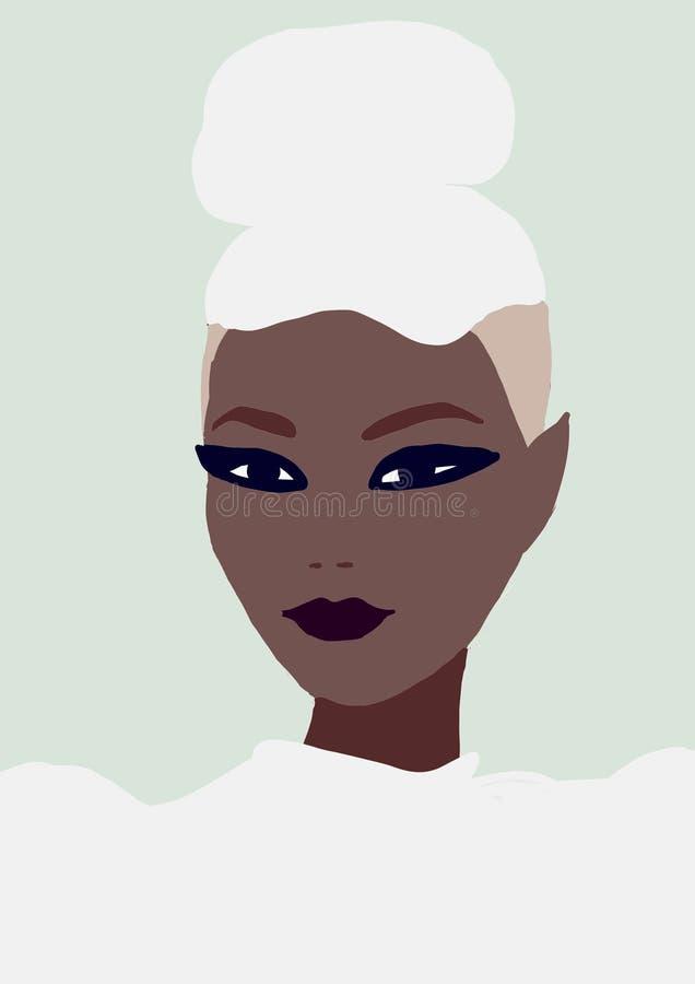 Ragazza biraziale sveglia dell'illustrazione donna asiatica di modo con pelle marrone ragazza d'avanguardia dell'America di afro illustrazione vettoriale