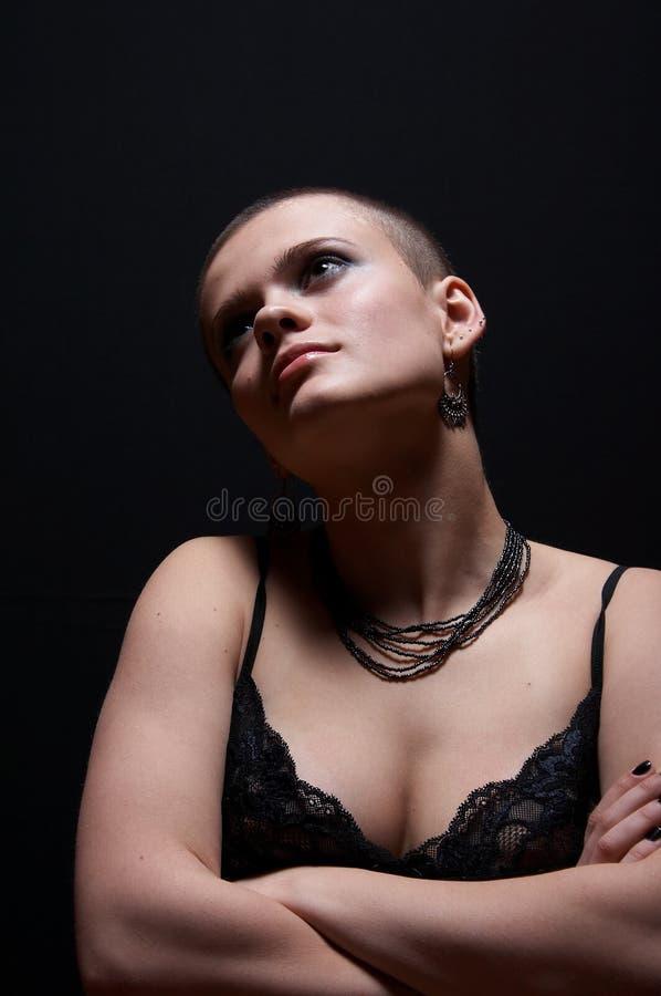 Ragazza calva sexy immagine stock