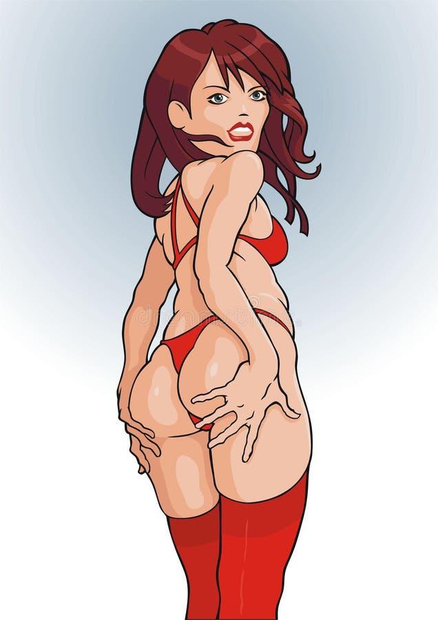 Ragazza in calze rosse illustrazione vettoriale