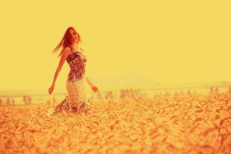 Ragazza in campo di mais dorato fotografia stock