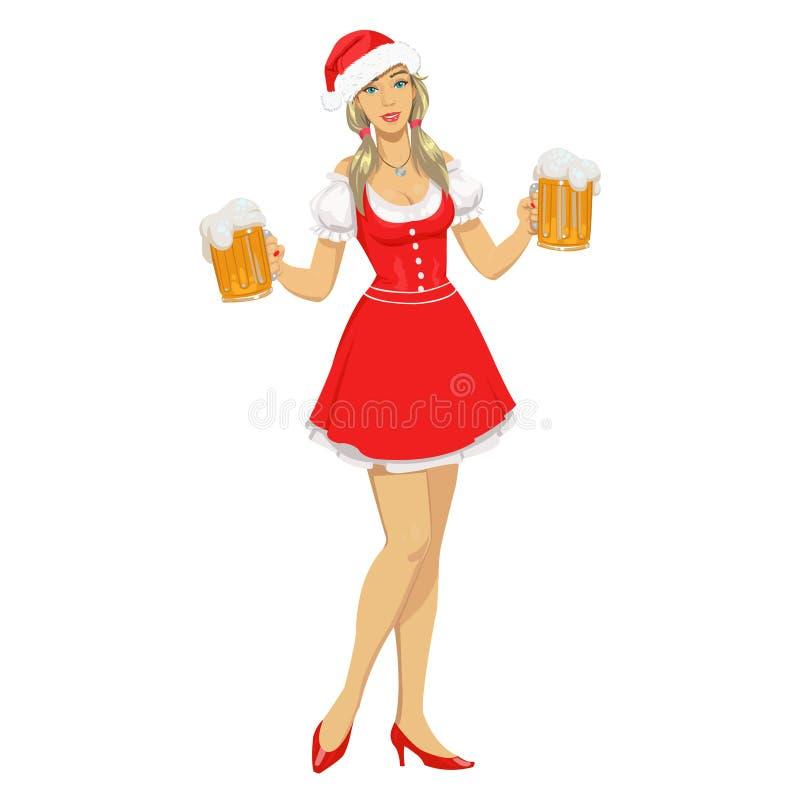 Ragazza in cappello di Natale con birra illustrazione vettoriale