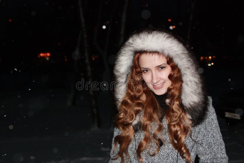 Download Ragazza In Cappotto Grigio Nella Notte Di Inverno Fotografia Stock - Immagine di modello, elegante: 7319636