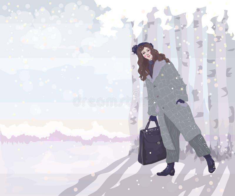 Ragazza in cappotto nella foresta di inverno illustrazione vettoriale