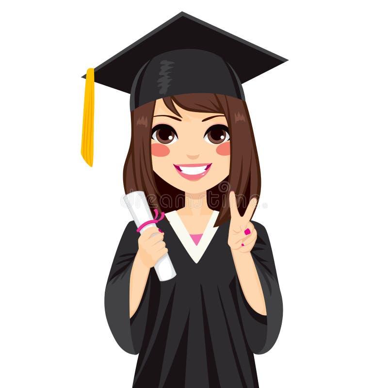 Ragazza castana di graduazione royalty illustrazione gratis