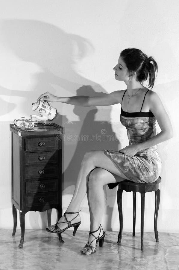 Ragazza castana graziosa in bianco e nero immagini stock libere da diritti