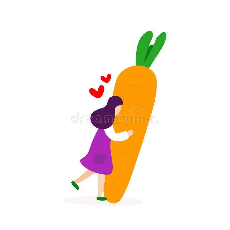 Ragazza che abbraccia con la grande carota illustrazione vettoriale