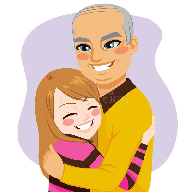 Ragazza che abbraccia nonno illustrazione vettoriale