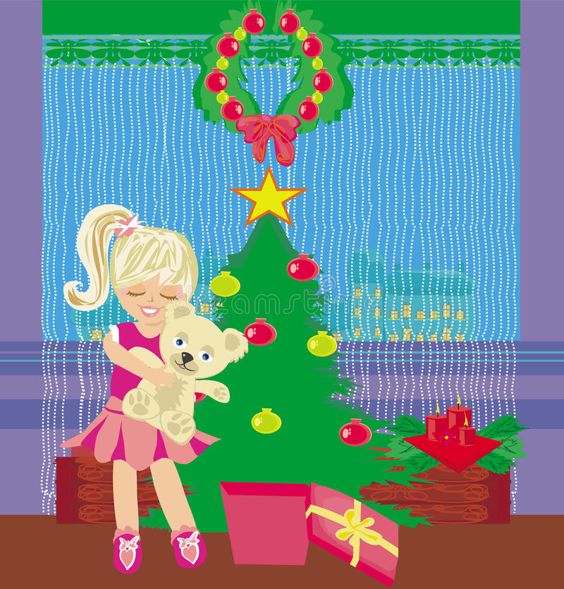 Ragazza che apre una scatola del regalo di Natale con una sorpresa meravigliosa royalty illustrazione gratis