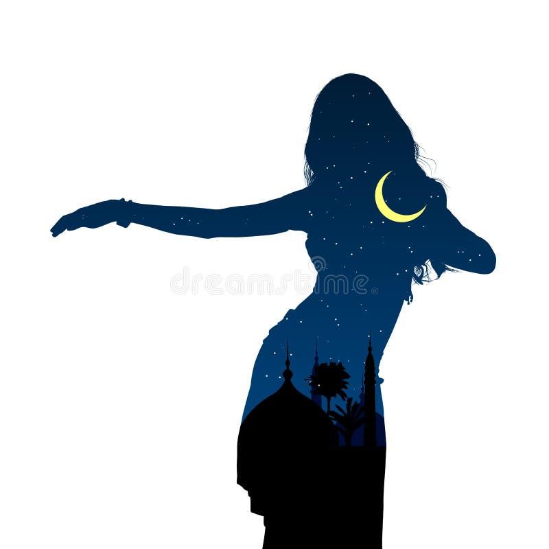 Ragazza che balla danza del ventre orientale Siluetta della ragazza che balla ballo arabo Paesaggio di notte Illustrazione di vet royalty illustrazione gratis