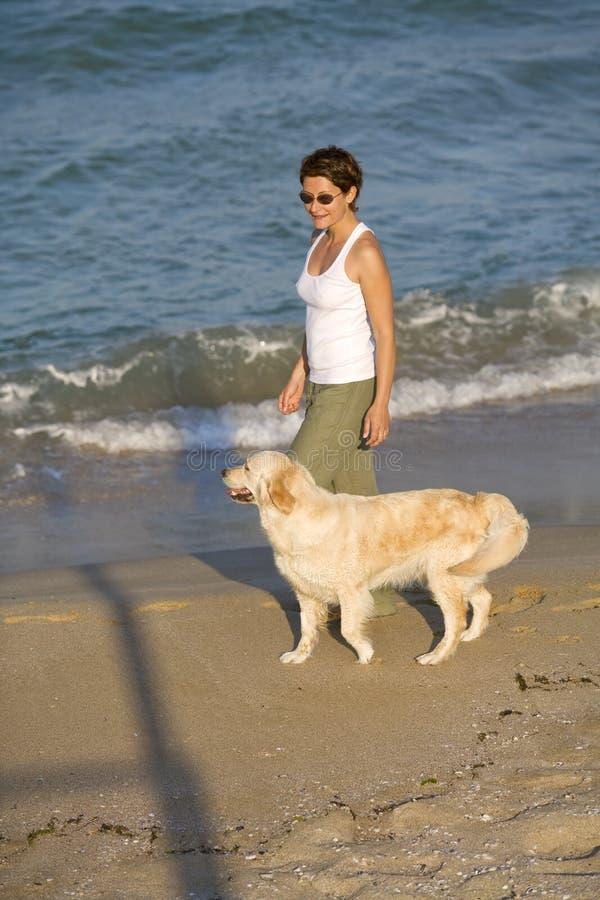 Ragazza che cammina con il cane fotografia stock