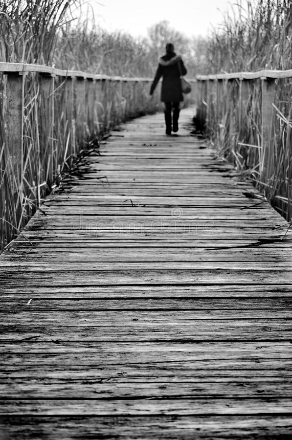Ragazza che cammina su un percorso immagine stock