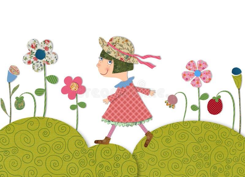 Ragazza che cammina sul prato di fioritura royalty illustrazione gratis