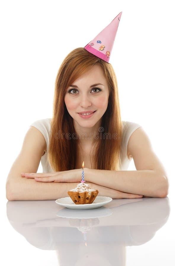 Ragazza che celebra il suo compleanno fotografia stock libera da diritti