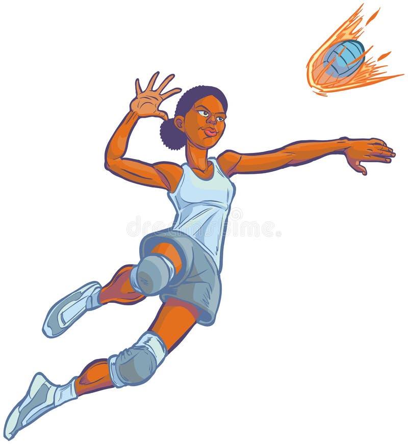 Ragazza che chioda l'illustrazione ardente del fumetto di vettore di pallavolo illustrazione di stock