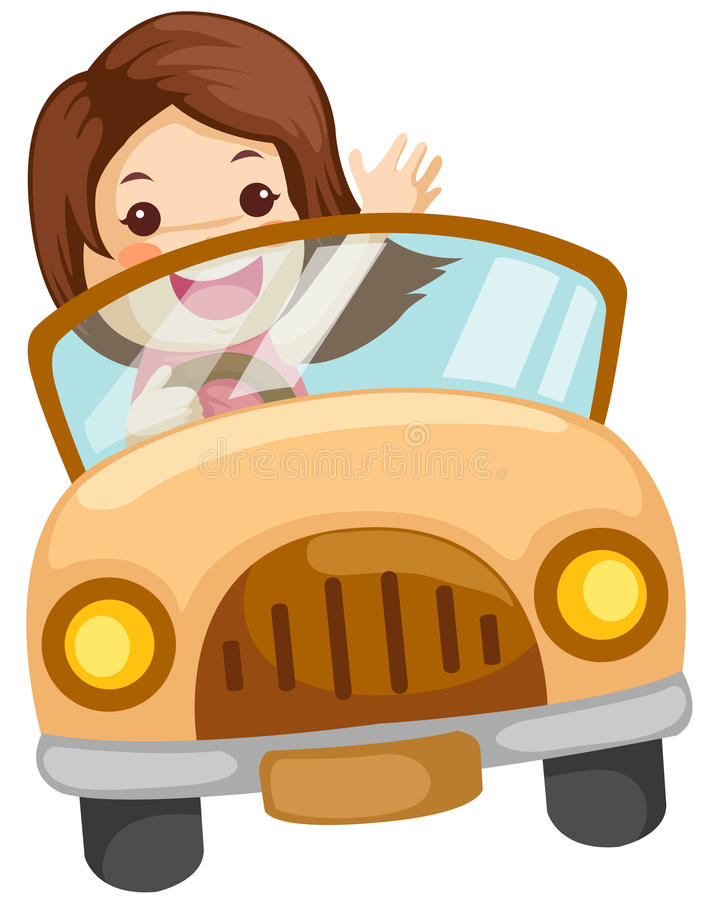 Ragazza che conduce un'automobile royalty illustrazione gratis