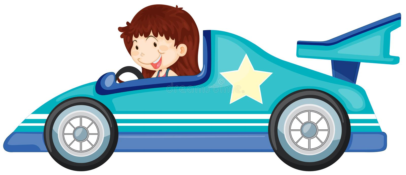 Ragazza che conduce un'automobile illustrazione di stock