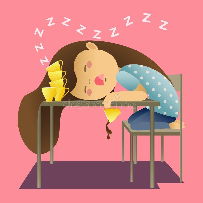 Ragazza che dorme con molte della tazza illustrazione vettoriale