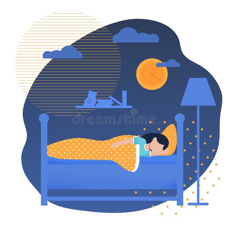 Ragazza che dorme a letto avendo fumetto di sogni di notte illustrazione vettoriale
