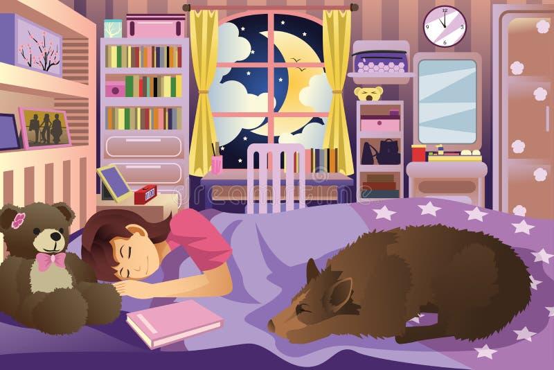 Ragazza che dorme nella sua stanza con il suo cane royalty illustrazione gratis