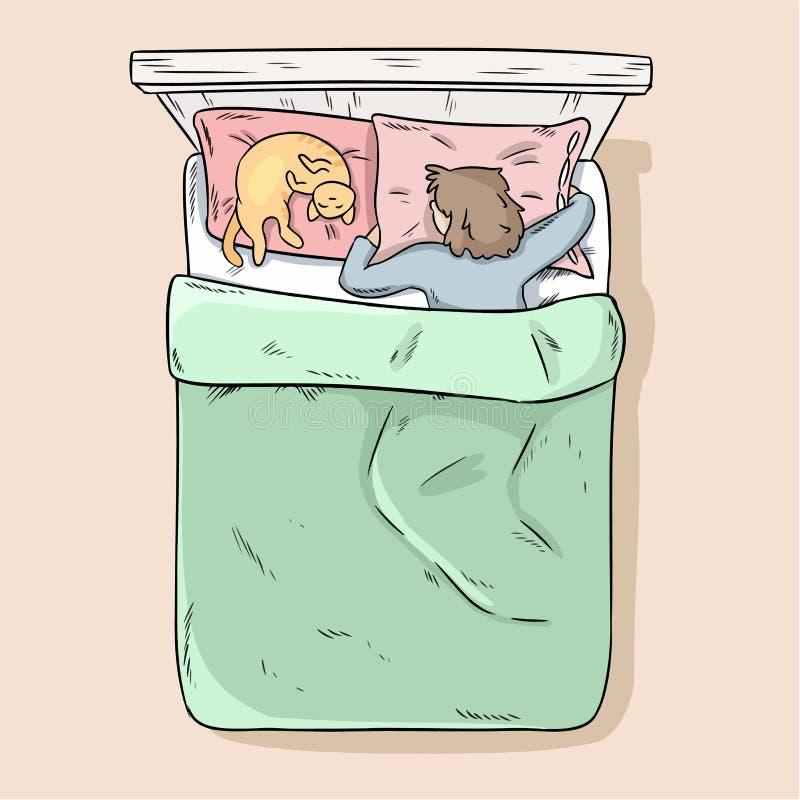 Ragazza che dorme pacificamente nel suo letto con il suo gatto Vista superiore Immagine moderna di vettore di stile del fumetto royalty illustrazione gratis