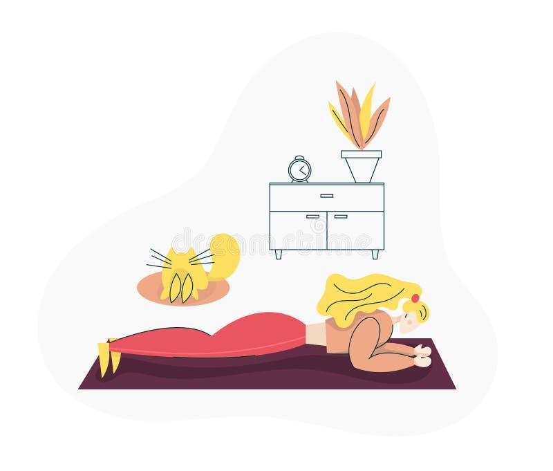 Ragazza che esercita forma fisica a casa Concetto sano di stile di vita di sport con la donna adatta che fa Pilates, addestrament royalty illustrazione gratis