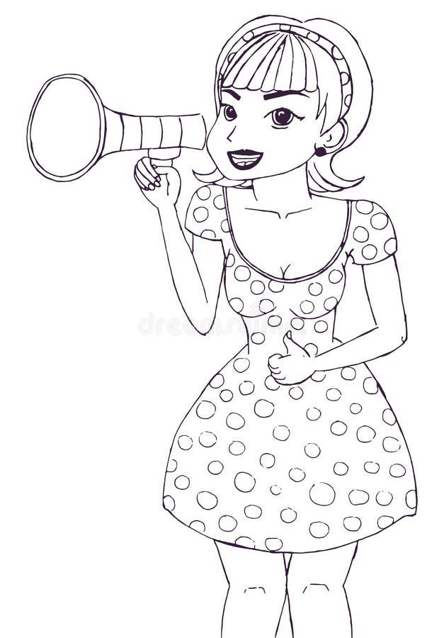 Ragazza che fa annuncio con il megafono o l'altoparlante royalty illustrazione gratis