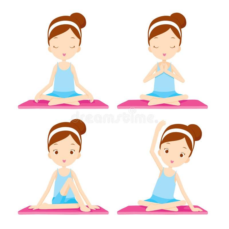 ragazza che fa esercitazione di yoga royalty illustrazione gratis