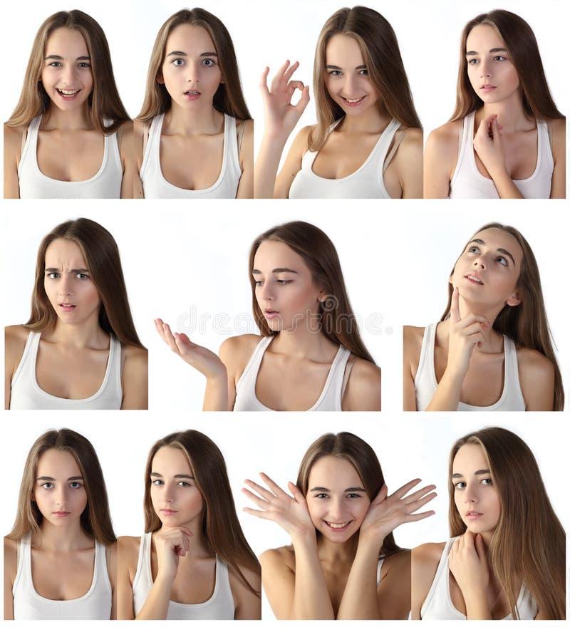 Ragazza che fa le espressioni facciali fotografia stock libera da diritti