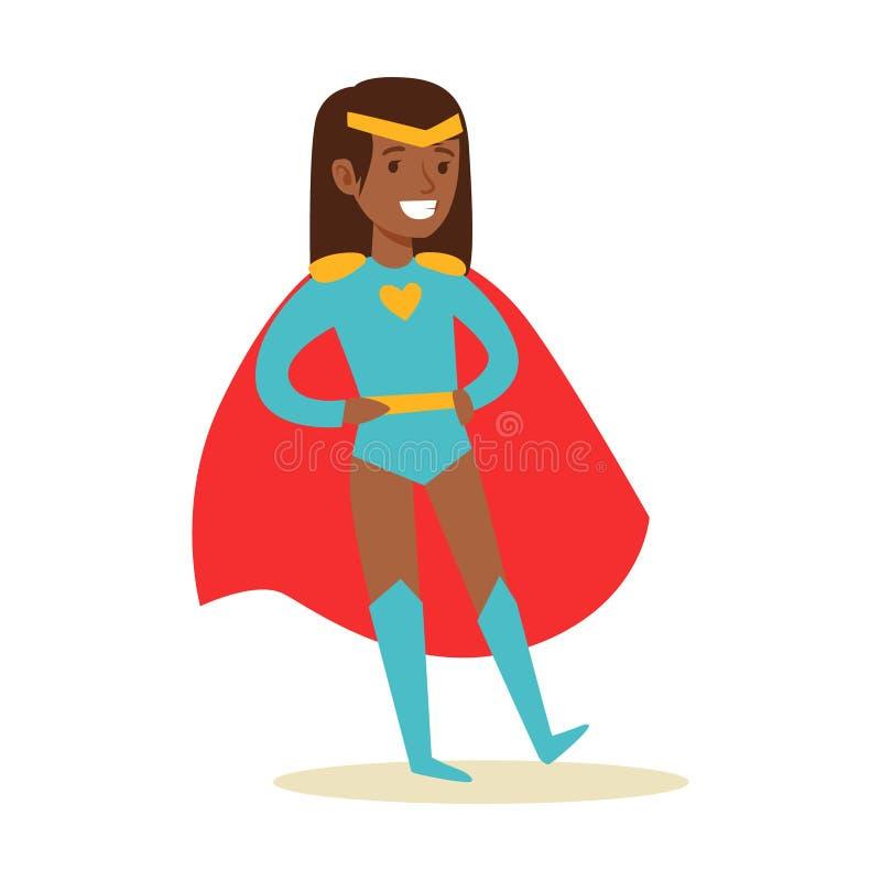 Ragazza che finge di avere superpotenze vestite in costume blu del supereroe con il carattere sorridente rosso del diadema e del  illustrazione vettoriale