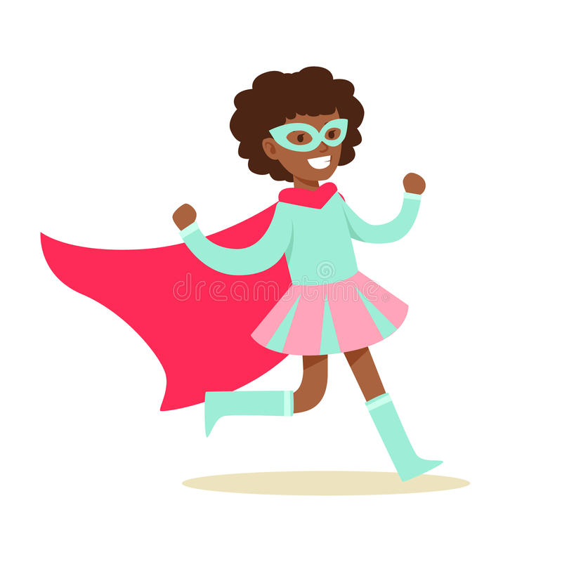 Ragazza che finge di avere superpotenze vestite in costume rosa e blu del supereroe con capo e di mascherare carattere sorridente royalty illustrazione gratis