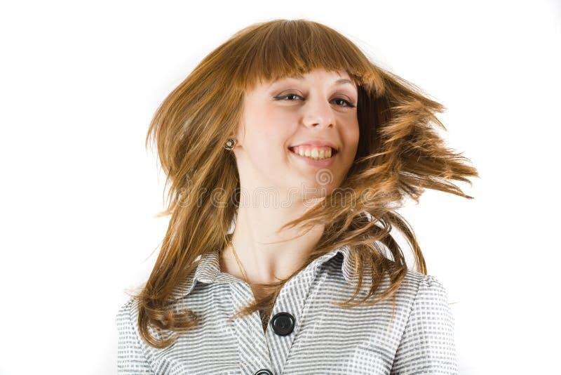 Ragazza che fluttua i suoi capelli fotografie stock