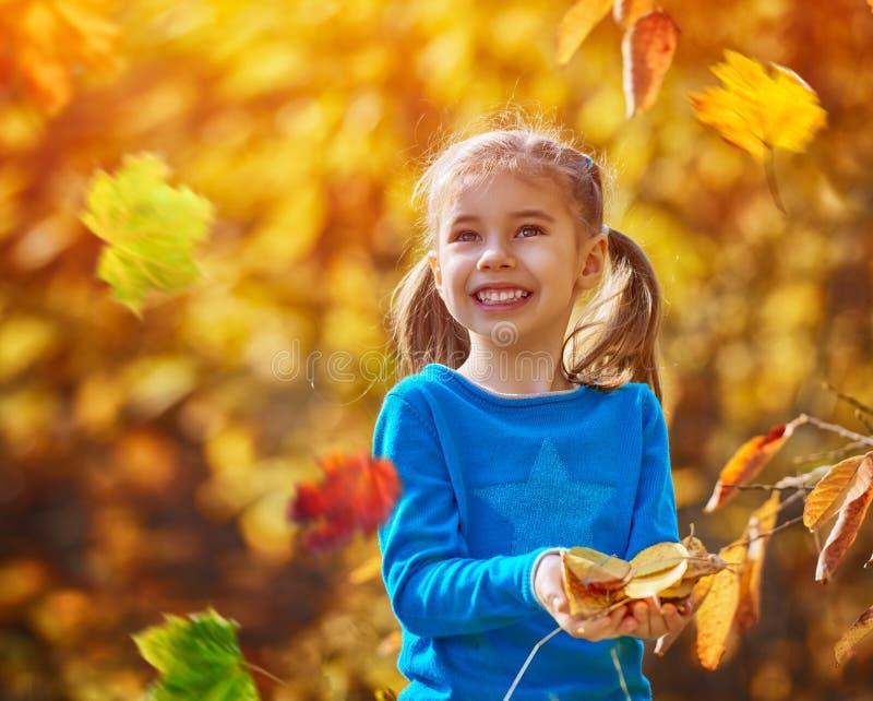 Ragazza che gioca in autunno fotografie stock