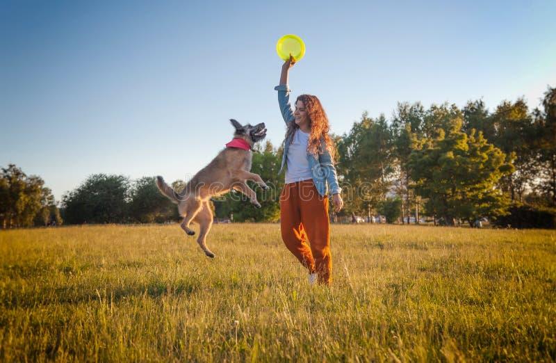 Ragazza che gioca cane con un frisbee nel parco di estate Il cane sta volando immagine stock libera da diritti