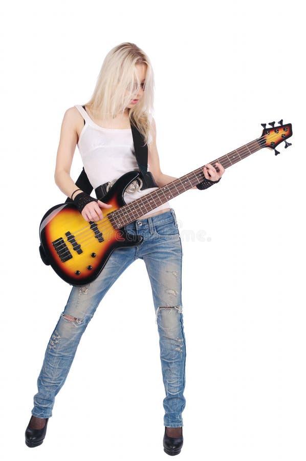 Ragazza che gioca chitarra fotografie stock libere da diritti