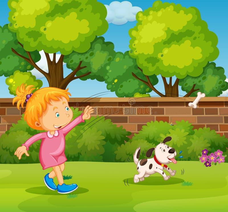 Ragazza che gioca con il cane di animale domestico nell'iarda illustrazione di stock