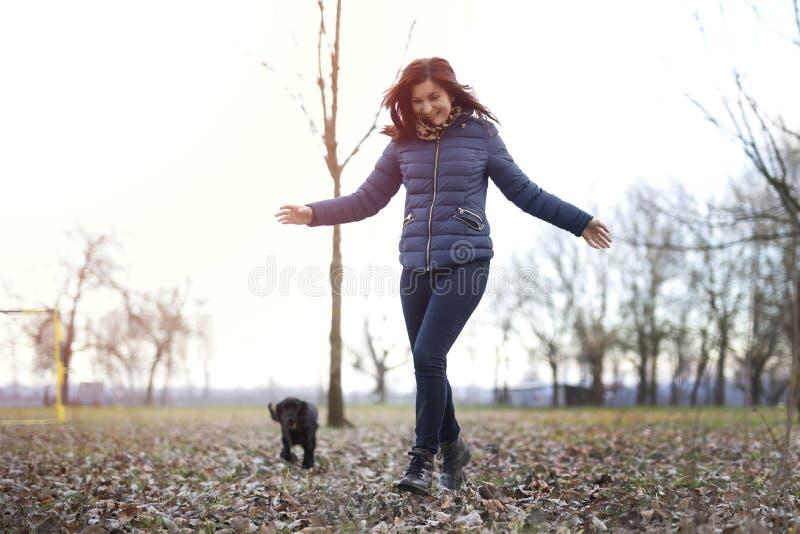 Ragazza che gioca con il cane in parco fotografia stock