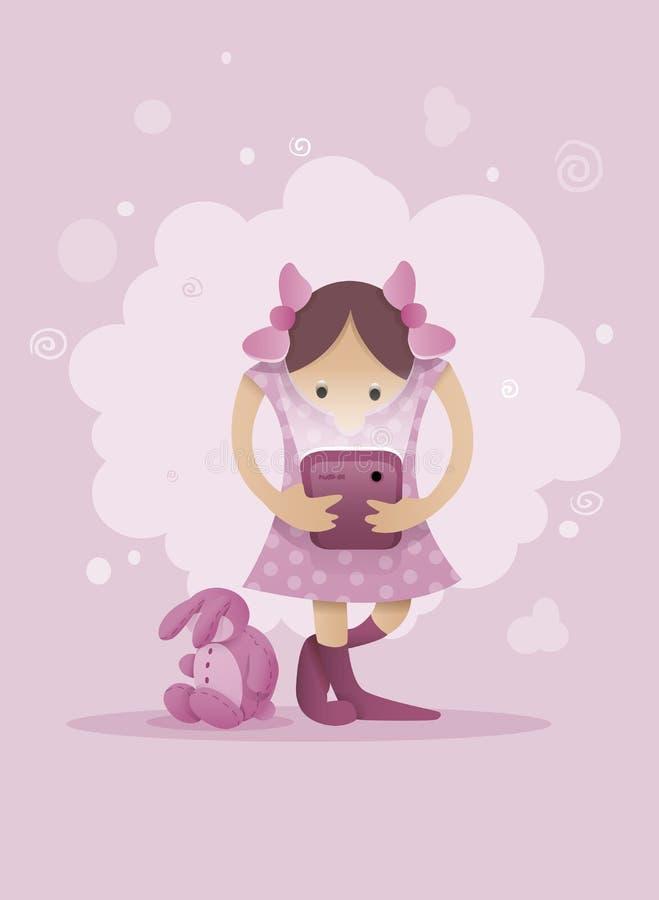 Ragazza che gioca con lo smartphone in mani illustrazione di stock