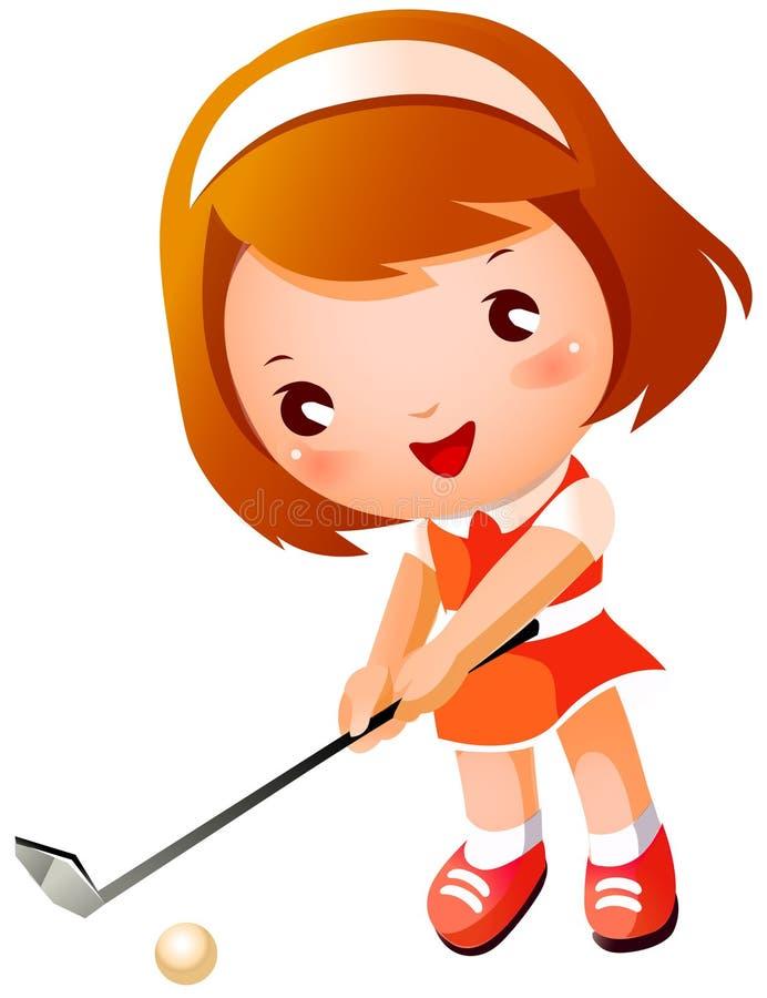 Ragazza che gioca golf illustrazione vettoriale