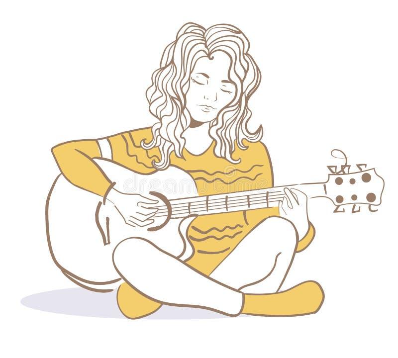 Ragazza che gioca la chitarra royalty illustrazione gratis