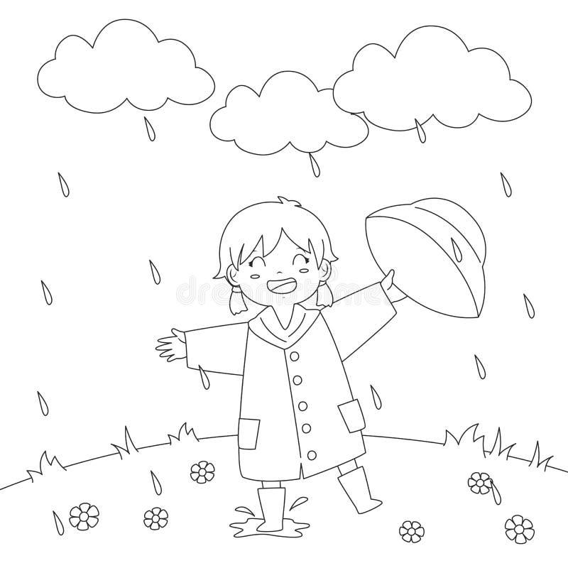 Ragazza che gioca nell'ambito della progettazione di vettore della pagina di coloritura della pioggia illustrazione di stock