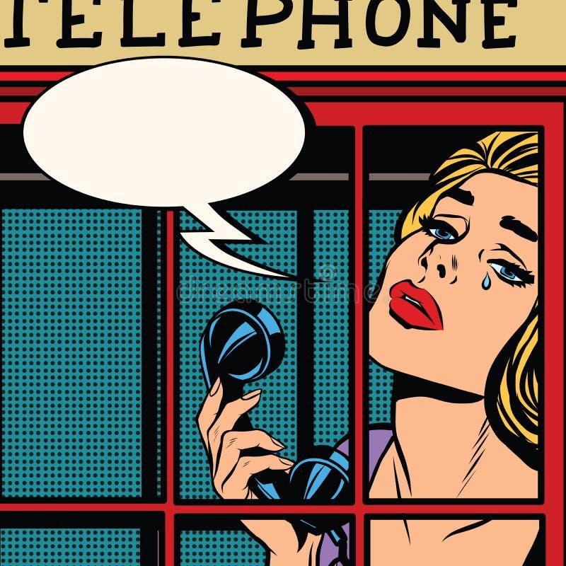Ragazza che grida in rosso cabina telefonica retro illustrazione di stock