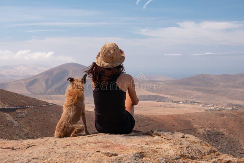 Ragazza che guarda il panorama con il suo cucciolo di cane immagini stock libere da diritti