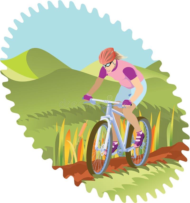 Ragazza che guida una montagna-bici illustrazione di stock