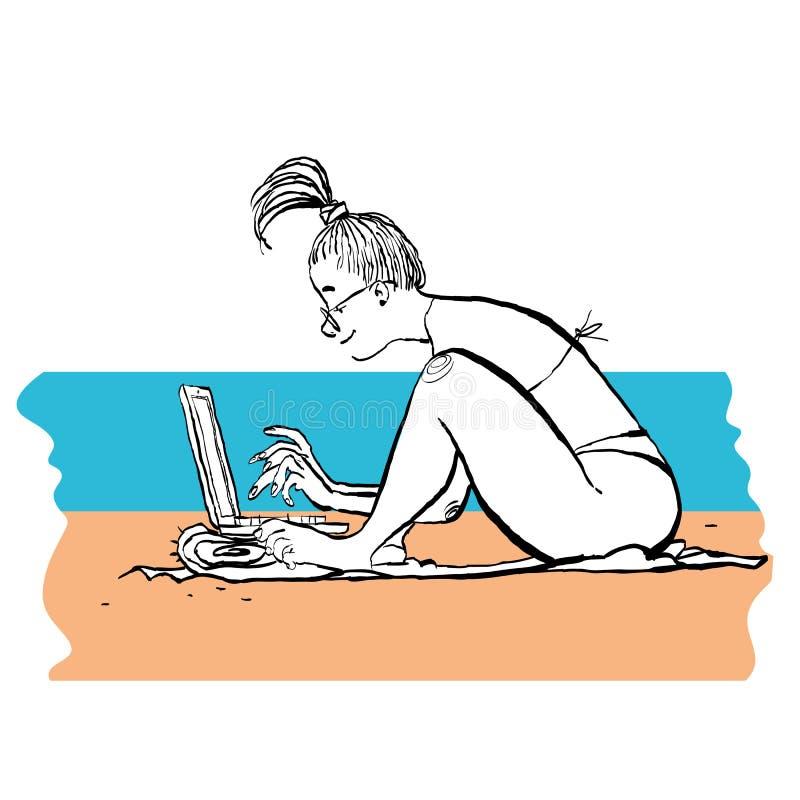 Ragazza che lavora alla spiaggia Gallone con il computer portatile alla spiaggia Free lance sul mare illustrazione vettoriale